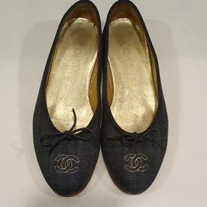 Chanel navy denim with gold ballet flats 35.5 US 5